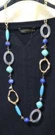 Schakelketting art. 2355 - aqua/blauw/grijs/ goudkleur