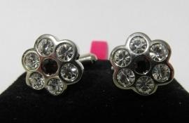 Manchetknopen dames bloem met rood hartje - zilverkleur/rood