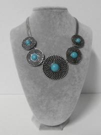 Sweet7 halsketting art. 8288 - zilverkleur/aquablauw