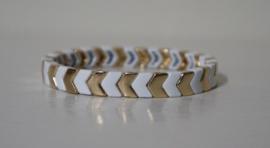 Metalen armband Boho art. 2933 - goudkleur/wit