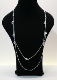Lange ketting art. 8290 - zilverkleur/wit/blauw