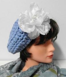 Damesdopje Olga - lichtblauw/wit