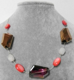 Halsketting art. 8395 - zilverkleur/koraal/brons