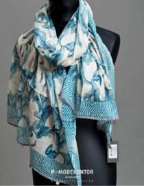 P-Modekontor damesshawl art. 1450432-3 - offwhite/blauw