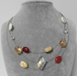 Halsketting art. 8228 - zilverkleur/crème/rood