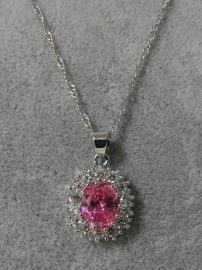 Halsketting art. 3077 - zilver/roze