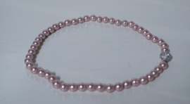 Parelketting met magneetsluiting art. 9100135455 - roze/zilverkleur