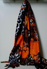 Damesshawl art. 3428239 - oranje/zwart/camel
