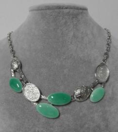 Halsketting art. 8340 - zilverkleur/groen