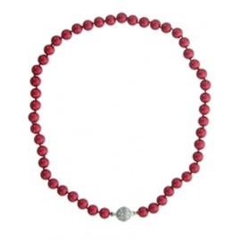 Parelketting met magneetsluiting art. 9100135440 - rood/zilverkleur