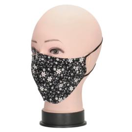 Mondmasker / mondkapje Bloemetjes art. 1130 - zwart/wit