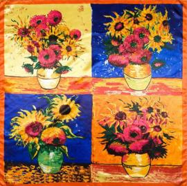 Damesshawl art. C374 - oranje/blauw/geel