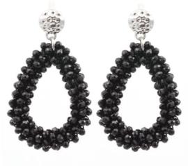 Oorbel hanger Drops art. 0018 - zwart/zilver