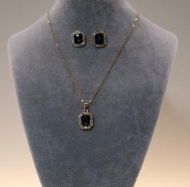 Halsketting met oorbellen art. 3675 - goudkleur/donkerblauw
