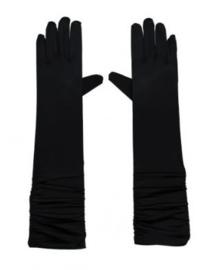 Gala-/avondhandschoen lang satijn art. 3320 - zwart