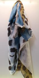Damesshawl art. 8101 - zand/beige/bruin/blauw