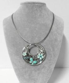 Halsketting art. 312095 - zilverkleur/mintgroen