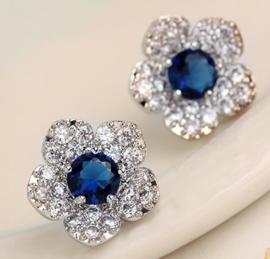 Oorbel steker art. 1202 - blauw/zilverkleur