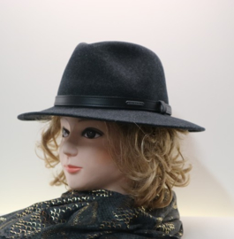 Stetson Woolfelt Traveller hoed art. 2598123 - antraciet gemêleerd