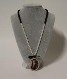 Lange ketting medaillon art. 2118 - zwart/offwhite
