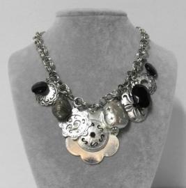 Halsketting art. 8520 - zilverkleur/zwart