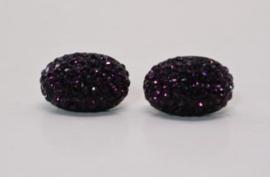 Oorbel steker art. 253315 - zwart/paars