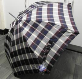 Knirps Long AC Light Aluminium paraplu art. 906 548 - bordeaux/blauw ruit