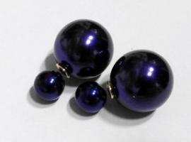 Oorbel Duo Dots pearl art. 9860 - paars