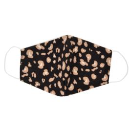 Mondmasker / mondkapje Leopard art. 046 - zwart/oudroze
