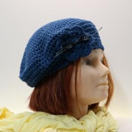 Gehaakte kinderbaret Noor 12 - jeansblauw