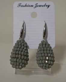 Oorbel hanger Glassberry art. 0507 - grijs