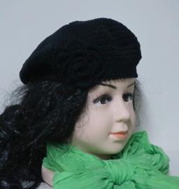 Gehaakte kinderbaret Anna - zwart