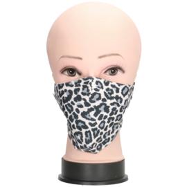 Mondmasker / mondkapje Leopard art. 924 - grijs