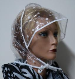 Regenkapje met klepje - transparant/wit