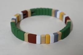 Metalen armband Boho art. 3256 - groen/wit/goudkleur