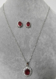 Halsketting art. 3077 - zilver/rood