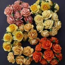 Paper roses, 25 mm. geel-oranje mix