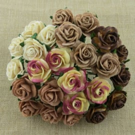 Paper roses, 15 mm. bruin mix