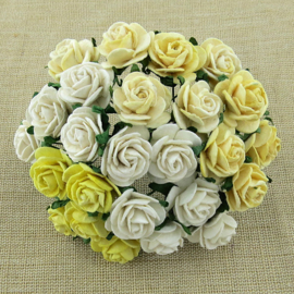 Paper roses, 15 mm. wit mix