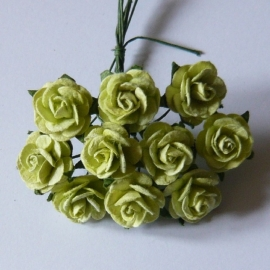 Paper roses, 15 mm. lime