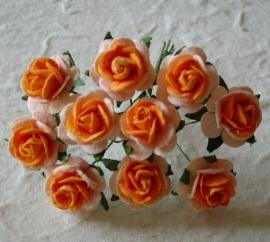 Paper roses, 15 mm. oranje 2-tone