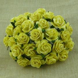 Paper roses, 15 mm. geel