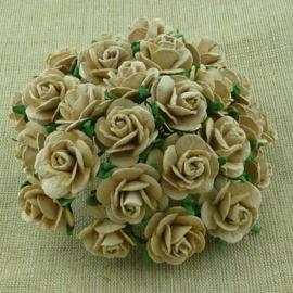 Paper roses, 15 mm. licht mokka