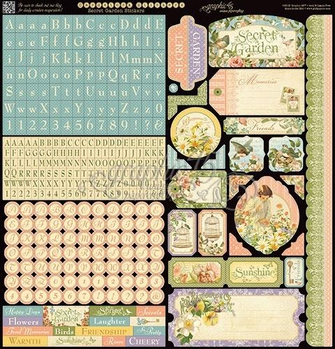 Graphic 45 - Secret garden stickervel