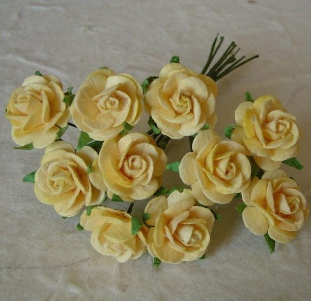 Paper roses, 15 mm. goudgeel