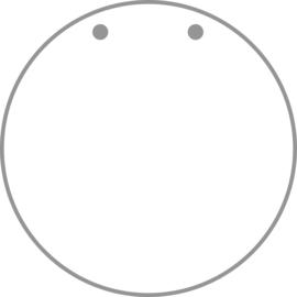Naamplaatje Plexiglas Rond 15 cm met voorgeboorde gaten boven