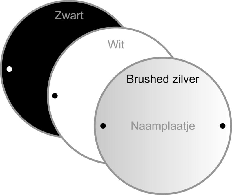 Naamplaatje Dybond  (zwart, wit, rvs-look) rond  15 x 15 cm