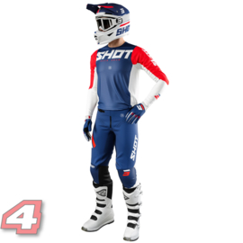Shot Aerolite Airflow Motorcross Shirt  Blue/White/Red