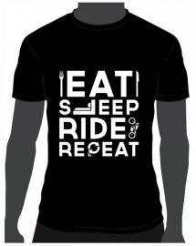 T-shirt Eat Sleep Ride Repeat Zwart