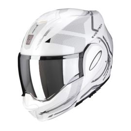 Scorpion Exo Tech Square wit/zilver motorhelm